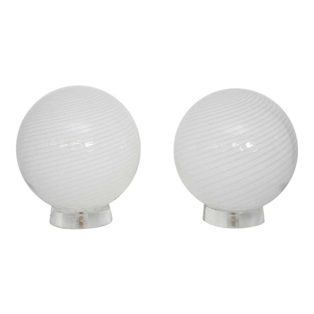 Large Vetri Murano Orb Lamps For Sale