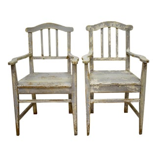 Pair of Pine Slatback Plank Seat Country Armchairs For Sale