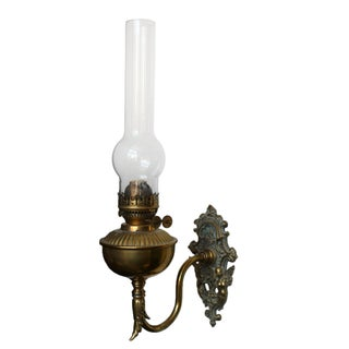 Brass Wall Bracket Oil Lamp For Sale