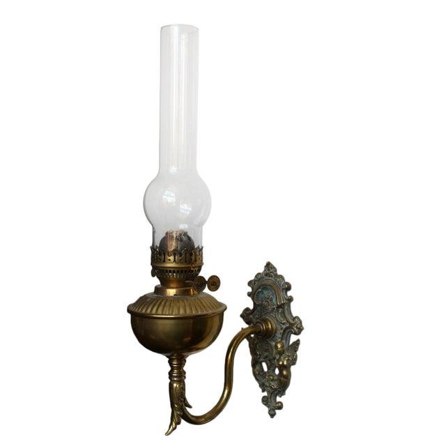 Brass Wall Bracket Oil Lamp For Sale