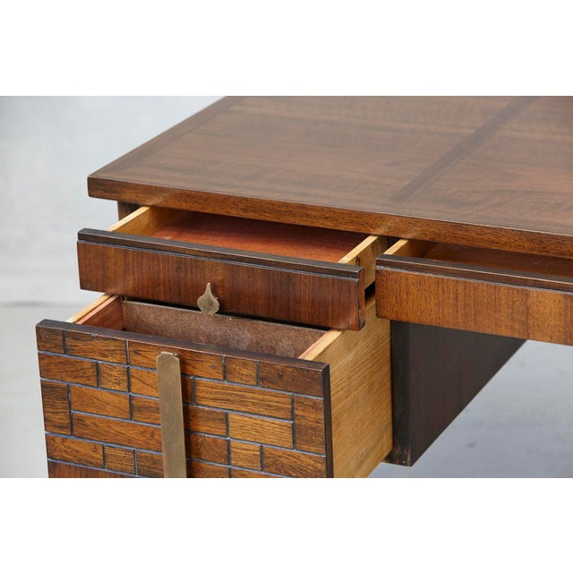 Brass Walnut Desk With Graphic Wood Work and Brass Hardware, 1970s For Sale - Image 7 of 12
