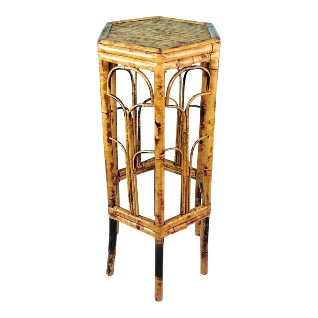 Vintage Burnt Tortoise Hexagon Bamboo Plant Stand For Sale