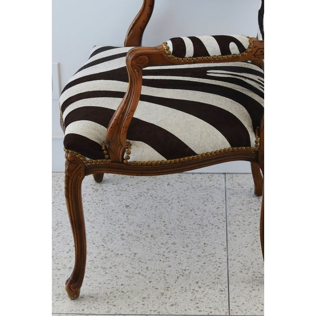 Animal Skin 1950s Carved Hardwood & Tiger Cowhide Upholstered Armchair For Sale - Image 7 of 13