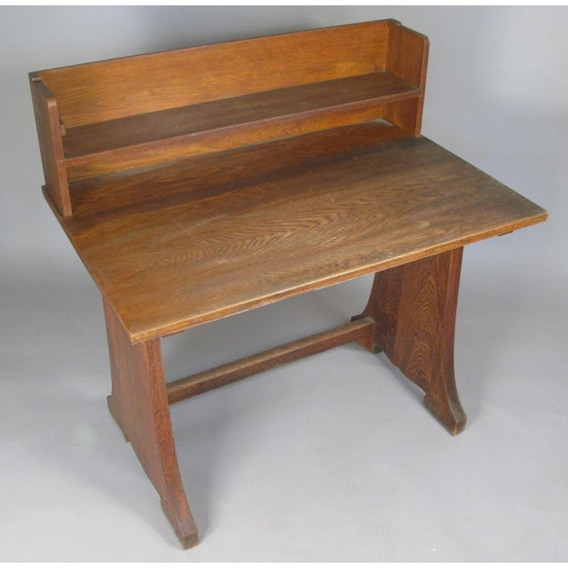 Antique Arts & Crafts Oak Desk From Harvard Divinity School For Sale In New York - Image 6 of 8