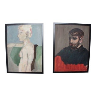 Vintage Portrait Paintings- A Pair For Sale