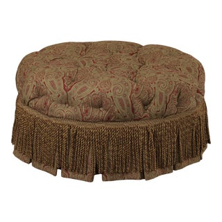 """Hickory Chair 32"""" Round Tufted Tudor Ottoman, Pouff For Sale"""