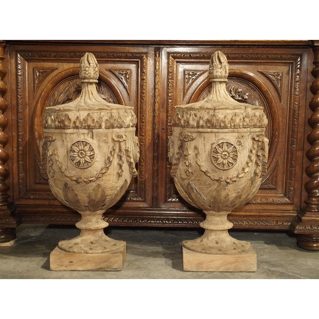 Pair of Neoclassical Style Carved Wooden Half Urns From England For Sale - Image 11 of 11