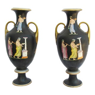 Antique 19th Century Basaltware Vases - a Pair For Sale