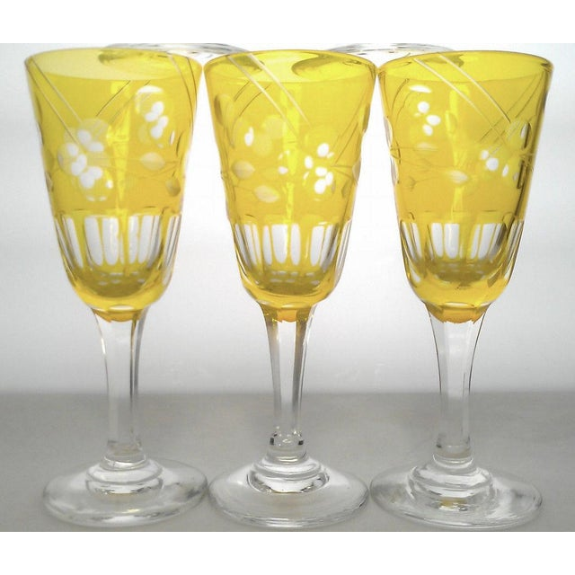 Set of 6 Amber cut to clear sherry stemware, early 20th century. Features: Fluted amber cut to clear floral/leaf pattern...