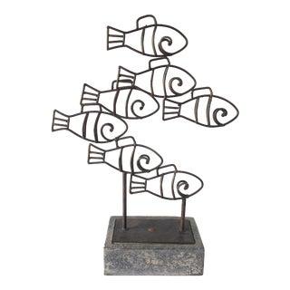 Vintage Mid-Century Decorative Bronze Fish Sculpture For Sale