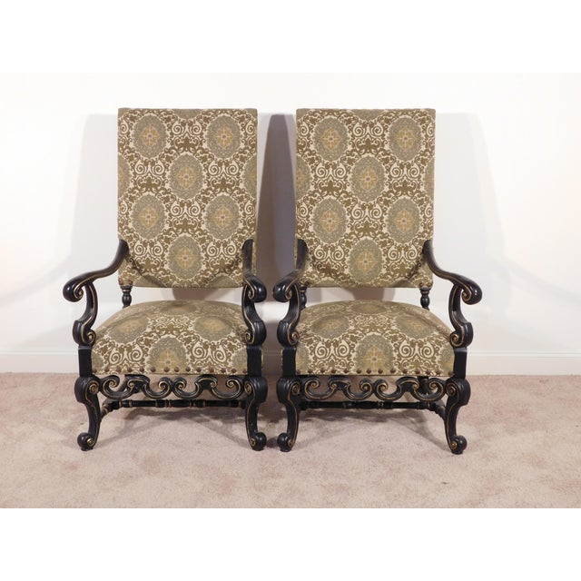 Metal Maitland Smith William & Mary Ebony W Gold Gilt Accents Fireside Arm Chairs - a Pair For Sale - Image 7 of 13