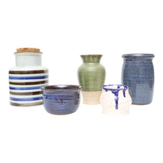 Mid-Century Modern Handmade Studio Pottery Vases - Set of 5 For Sale