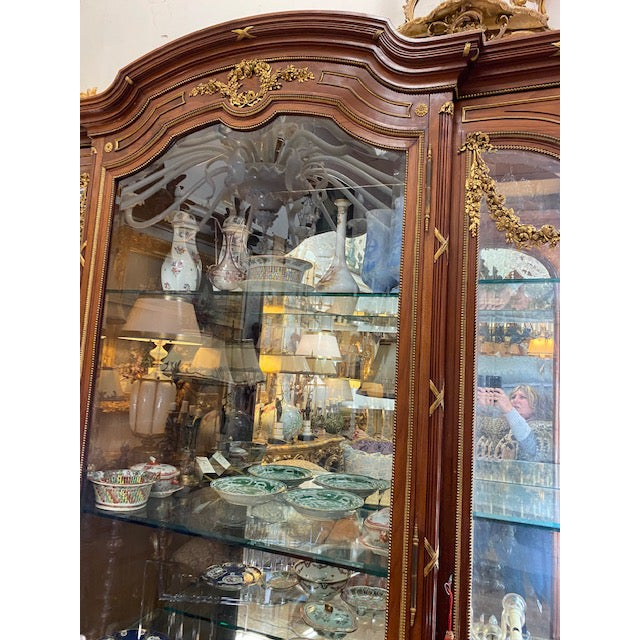 19th Century French Brozne Walnut and Bronze China Cabinet For Sale - Image 9 of 13