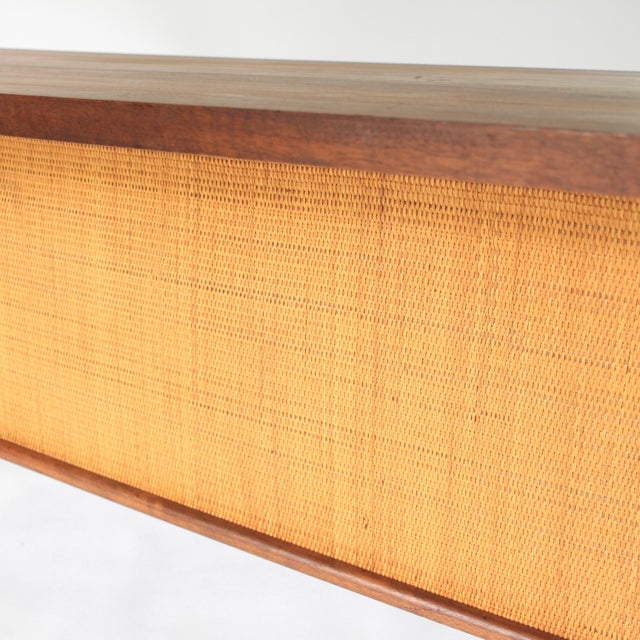 Brown 1950s Mid Century Modern Florence Knoll Style Walnut and Cane Desk For Sale - Image 8 of 13