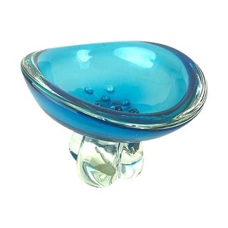 Venetian Glass Sommerso Footed Candy Dish For Sale