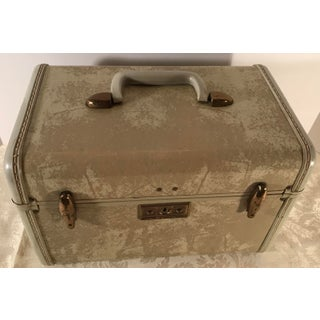 Vintage Samsonite Blonde Marbled Leather Train Case With Key Preview