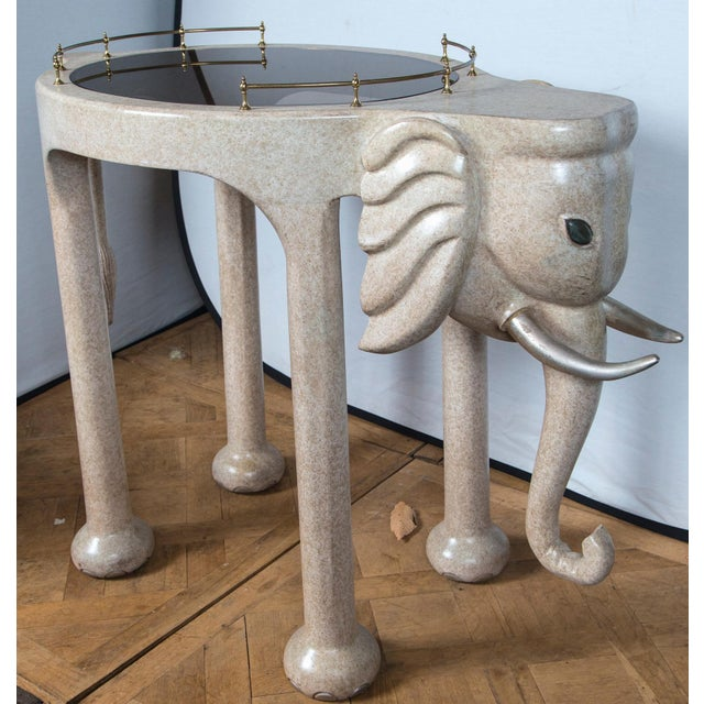 Marge Carson Elephant Rolling Bar Cart For Sale - Image 4 of 12