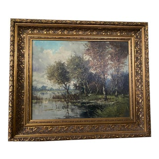 Landscape Oil Painting in Gold Frame For Sale