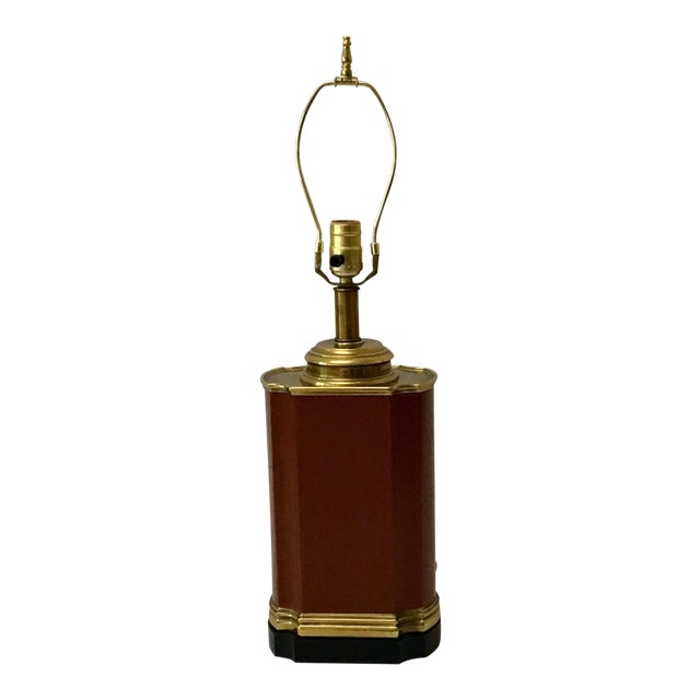 Vintage Brass and Brown Leather Tea Caddy Style Table Lamp For Sale