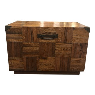 Mid Century Parquet Wooden Trunk or Box With Handles For Sale