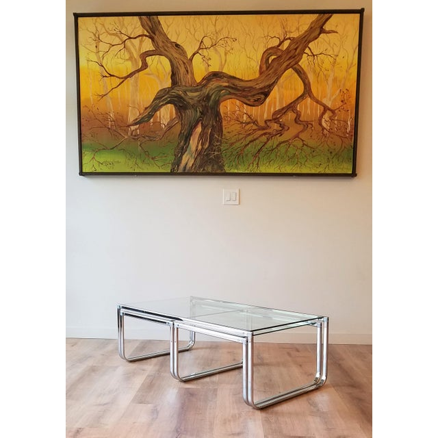 1970s Glass and Chrome Coffee Table With Nesting Side Tables Made in Italy For Sale - Image 9 of 10