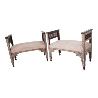 Moorish Syrian Benches Inlaid with Mother of Pearl - a Pair For Sale