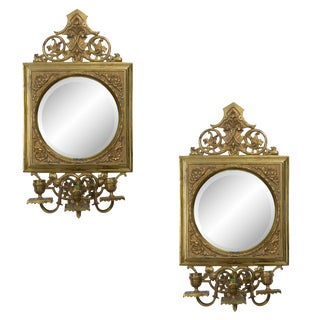Pair of 19th Century Brass and Mirror Sconces For Sale