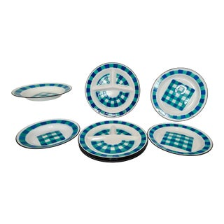 Mid Century Vintage Enamelware Plates Bowls Geometric Blue & Teal Green Pattern - Lot of 12 For Sale