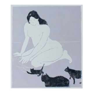 Woodblock Print of Cat Lady by Michelle Farro For Sale