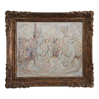 Andre Lauran Place De La Concorde Oil on Canvas Painting, Framed For Sale