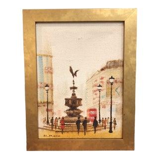 """A Paris Moment"" Signed Oil Painting on Burlap Medium For Sale"