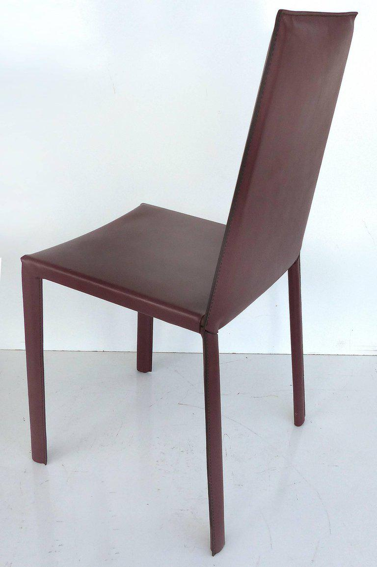 1990s Arrben Of Italy Leather Clad High Back Salinas Two Dining Chairs, Set  Of Six