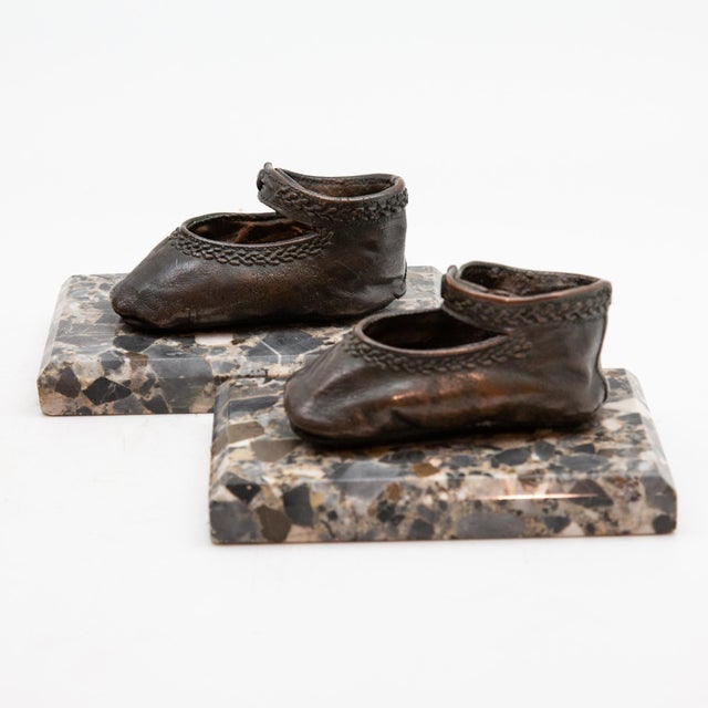 Bronze Ballerina Style Baby Shoes Weights with Marble Base - A Pair For Sale - Image 4 of 6