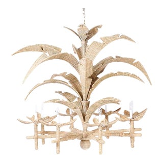 FS Flores Large Wicker Palm Leaf Chandelier For Sale