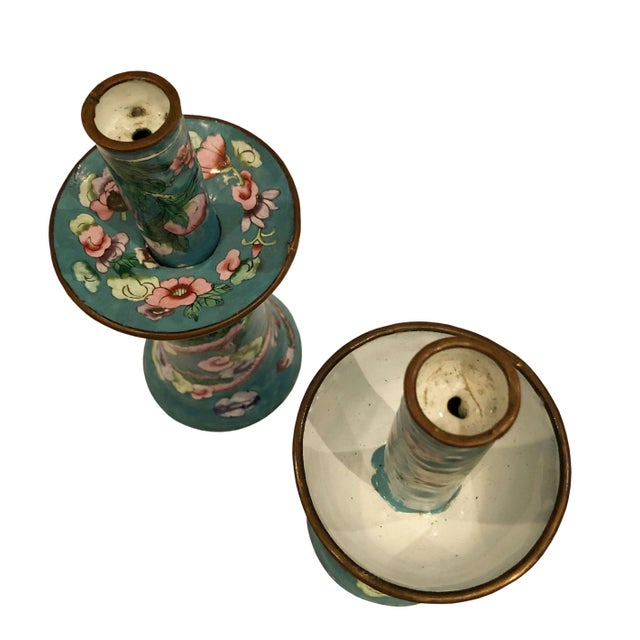 Chinese Antique Chinese Enamel Candleholders - a Pair For Sale - Image 3 of 5