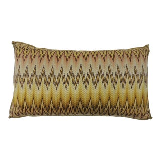19th Century Italian Bargello Embroidery Bolster Decorative Pillow For Sale