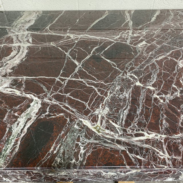 Brown Monumental Marble Dining or Desk Table For Sale - Image 8 of 13