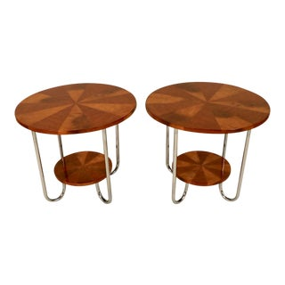 1930 Art Deco Maple and Chrome Side Tables - a Pair For Sale