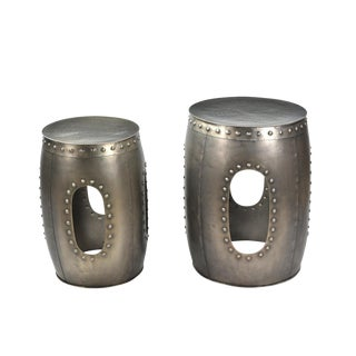 Contemporary Round Metal Side Tables - a Pair For Sale