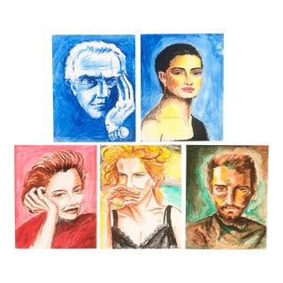 Vintage Colorful Portraits-Set of 5 For Sale