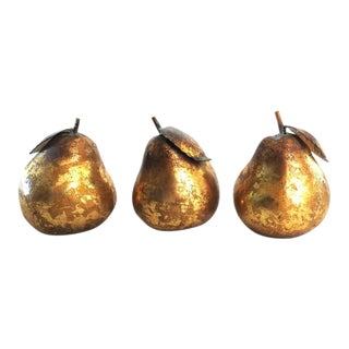 Gilt Metal Pears - Set of 3 For Sale