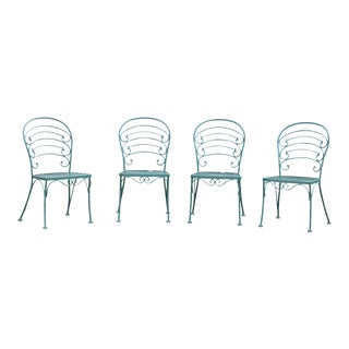 Woodard French Country Collection Wrought Iron Set 4 Patio or Garden Dining Chairs For Sale