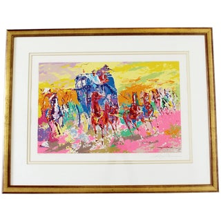 Mid-Century Modern Framed Signed Leroy Neiman Lithograph Numbered 164/300 Horses For Sale