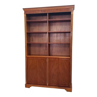 Vintage English Yew Bookcase With Lower Cabinet C.1970s For Sale