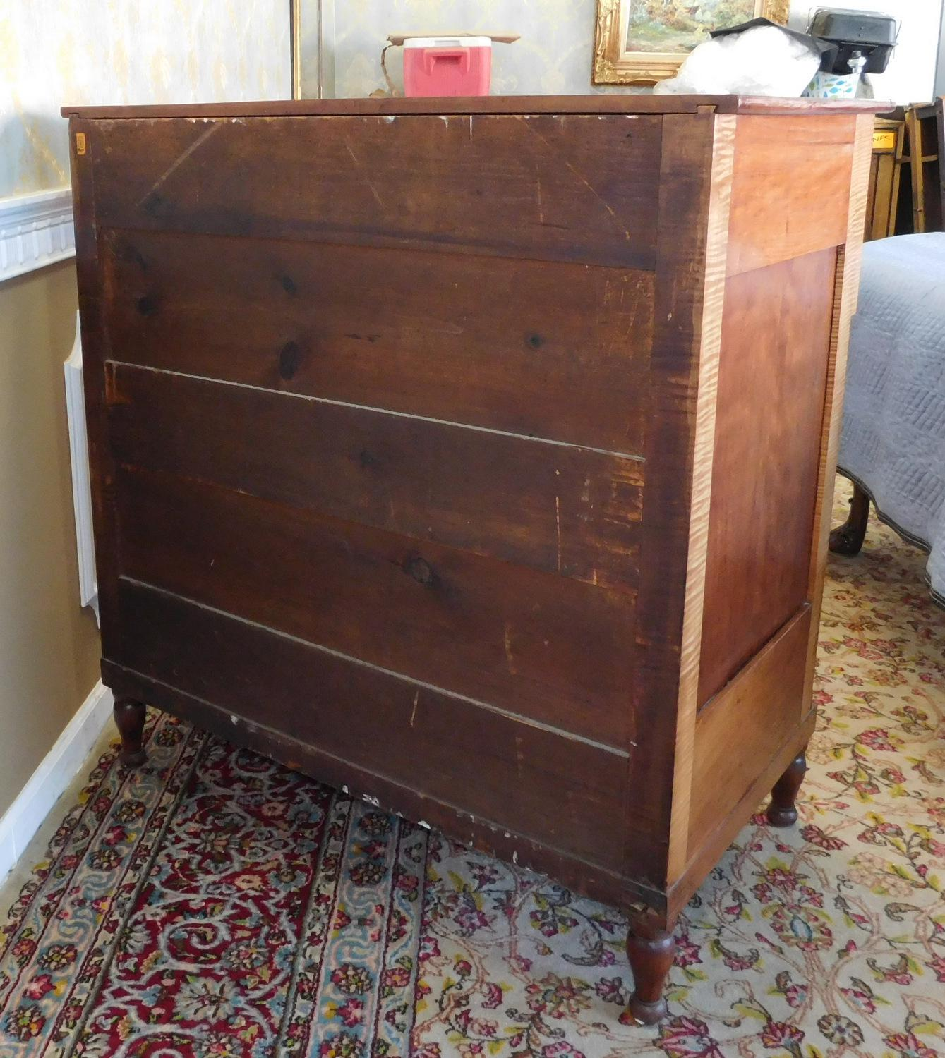 Antique American Empire Period Applewood U0026 Tiger Maple Chest Of Drawers  C1840 For Sale   Image