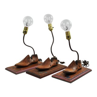 Vintage Up-Cycled Wooden Clog Table Lamps - Set of 3