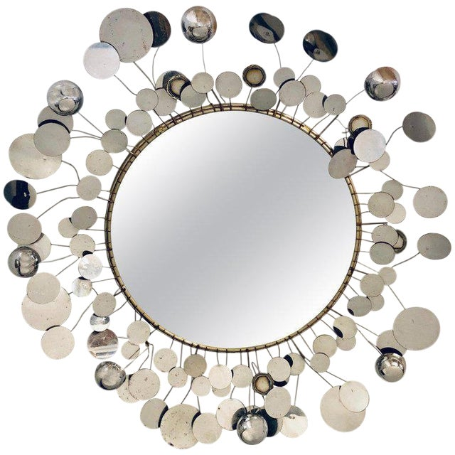 Mid-Century Modern Bamboo Form Frame Mirror with Floating Orbit Spheres For Sale