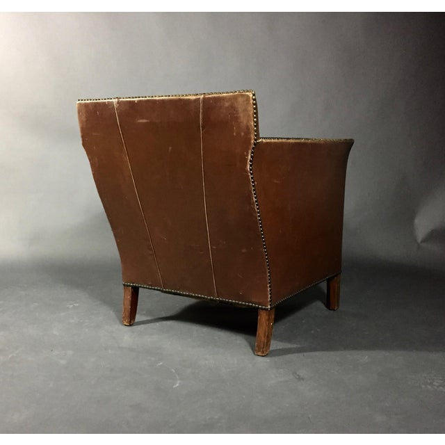 Animal Skin 1940s Swedish Square-Back Leather Club Chair For Sale - Image 7 of 11