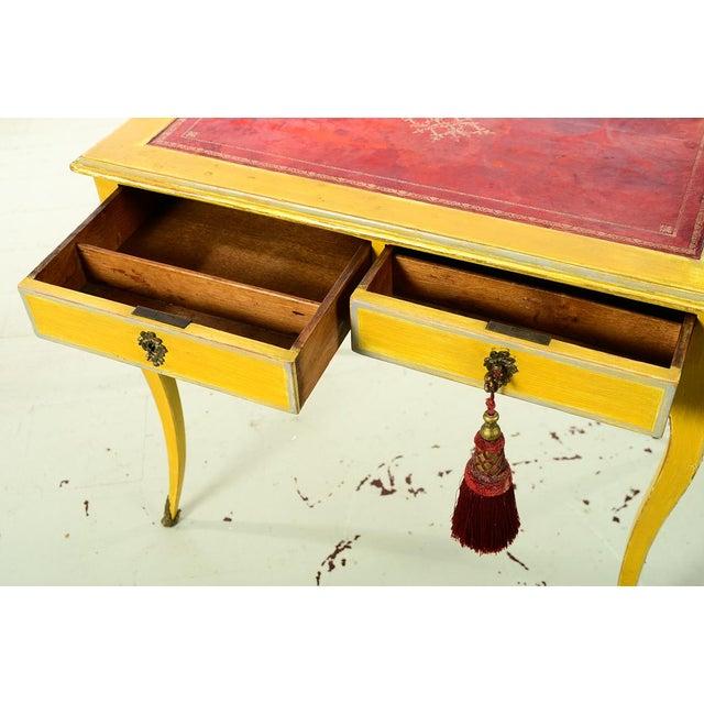 Wood 19th Century Venetian Beautiful Painted Petite Ladies Desk -Leather Top For Sale - Image 7 of 10