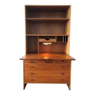 Hans Wegner Oak & Teak Wall Cabinet Secretary Desk For Sale